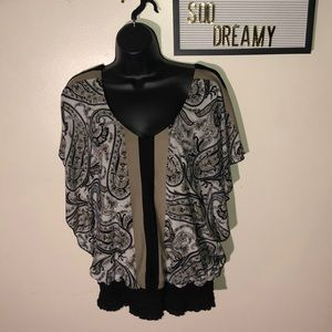 MAURICES Taupe & Black Flowy Top